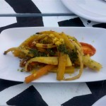 Local heirloom carrots with pesto & tomato-base sauces